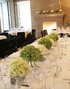 Antique Green Hydrangea and Lisianthus - Head Table and Dining Room Fireplace - Mantells Mt Eden