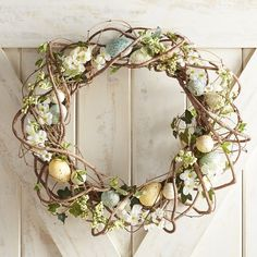 Pier 1 Imports Blue Speckled Eggs Wreath ($40) ❤ liked on Polyvore featuring home, home decor, ivy wreath, artificial floral wreaths, blue wreath, spring wreath and blue home decor