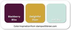 Stampin' Up! Color Inspiration: Blackberry Bliss, Delightful Dijon, Soft Sky