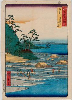 "Iwami - Takatsuyama Shiohama (石見 高津山 汐濱). Original color woodblock print from the series Rokuju-yoshu meisho zue 六十余州名所図会 - ''Famous Sights of the more than 60 Provinces"". Signature: Hiroshige ga. Publisher: Koshi-Hei. Engraver: hori Soji. Censor seal: Aratame. Seal of date: 1853, 12th month. OBAN 36 x 25,5"