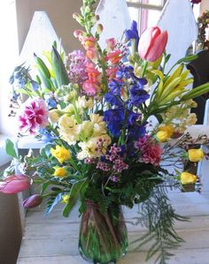 Fresh flowers from the florist are very nice for your Sunday Easter Dinner.