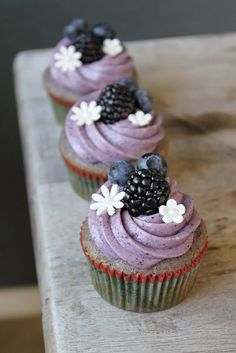 Pretty Blueberry-Blackberry Cupcake with Blueberry Cream Cheese Frosting. Perfect for weddings, bridal showers, baby showers, birthdays.