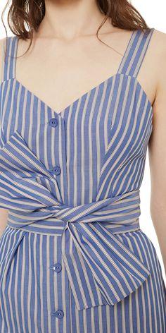 Cotton midi dress with bow
