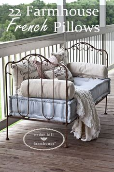 Want the Farmhouse French look in your home? Here are 22 different pillows that all work with Farmhouse French style. And I've included sources for pillows.
