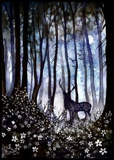 """the-forest-of-the-faun: """" Not a second time by Sieskja """" Art And Illustration, Woodland Creatures, Fairy Art, Whimsical Art, Painting Inspiration, Painting & Drawing, Folk Art, Fantasy Art, Art Photography"""