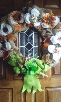 Check out this item in my Etsy shop https://www.etsy.com/listing/245286952/fall-floral-burlap-wreath18-inchesfall