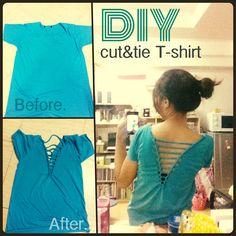 DIY Cut Out T-shirt #pilai #pilaidiy #tshirt #cut