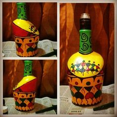 Some and a is all it takes to create your own piece of Painted Glass Bottles, Glass Bottle Crafts, Wine Bottle Art, Art N Craft, Diy Art, African Crafts, Bottle Painting, Wooden Art, Pottery Painting