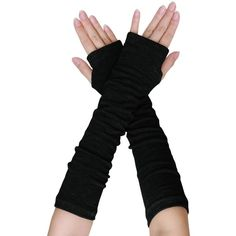 uxcell Women Black Knitted Acrylic Fingerless Long Gloves Arm Warmers... (5.69 CAD) ❤ liked on Polyvore featuring accessories, gloves, elbow length gloves, fingerless gloves, long gloves, fingerless arm warmers and arm warmer gloves