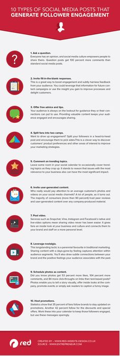 10 Types of Social Media Posts That Generate Engagement With Followers [Infographic]