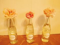 flowers in soda bottles
