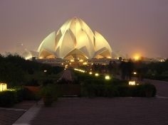 """""""Lotus Temple"""" - Baha'i House of Worship - Delhi, India ... open to all people and all faiths. One of the most beautiful buildings in the world; in the shape of a perfect lotus blossom..."""