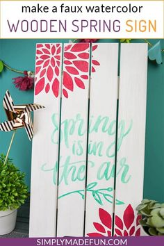 DIY a bright and cheery sign to welcome the season with your Silhouette Cameo! This painted wooden Spring sign takes 20 minutes to make and all you need is a Silhouette Machine, stencil vinyl, and some of your favorite paints! Diy Spring, Spring Home Decor, Spring Sign, Spring Crafts, Spring Decorations, Vinyl Crafts, Wooden Crafts, Vinyl Projects, Pallet Projects