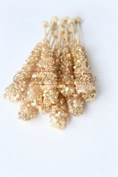 Buy Online! Elegant & delicious All Gold themed Rock candy with pretty gold finish! Great for Gold wedding favors, a Gold Bridal Shower, Gold Baby Shower, Great Gatsby party, Art Deco party, dessert table treats, a glam gold themed birthday, baby shower or bridal shower party or for an elegant Gold Wedding dessert table or favors!