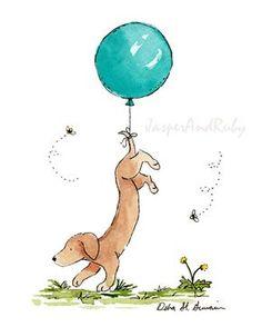 Puppy Nursery Art, Dachshund with Blue Balloon, Dog Nursery Print, Children's Wall Art, Kids Room De Childrens Wall Art, Art Wall Kids, Nursery Wall Art, Art For Kids, Nursery Decor, Dog Illustration, Illustrations, Art Turquoise, Puppy Nursery