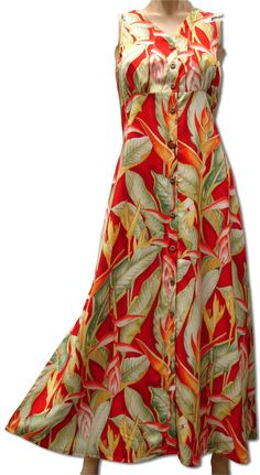 76c39a5333 Heliconia button front long length dress. Hawaii DressParadise ...