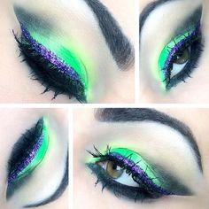 neon green and purple eye makeup