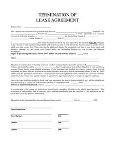 Termination of Lease Obligation - Template & Sample Form | Biztree ...