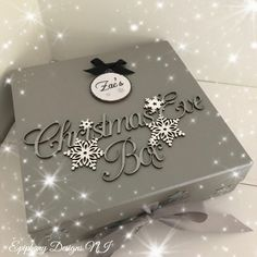 Christmas Eve Box with personalised bauble black and silver By Epiphany Designs NI