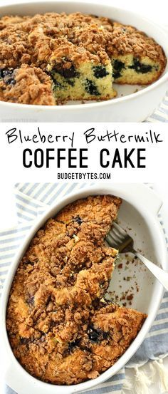 Blueberry Buttermilk Coffee Cake is a morning treat with its sweet blueberries and crunchy cinnamon streusel topping. BudgetBytes.com