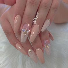 35 Simple Ideas for Wedding Nails Design 35 Simple Ideas for Wedding Nails Design Professionally performed and how to shape nails coffin pattern on nails can be done not only with the help of brushes, but also with the help of dots. This manicure tool Classy Nails, Fancy Nails, Bling Nails, Fabulous Nails, Gorgeous Nails, Pretty Nails, Hair And Nails, My Nails, Nails Today