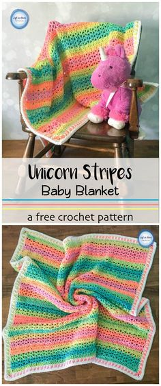 The Unicorn Stripes Baby Blanket gives you all the colors of the rainbow without a bunch of ends to weave in!  Just use the new Red Heart Super Saver Stripes to make this simple and colorful blanket!  This free crochet pattern is beginner friendly and includes tips for adjusting the size.  This is a fast DIY project for your next baby gift!