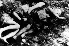 The bodies of children who were murdered at the Ponary mass extermination site near Vilnius.