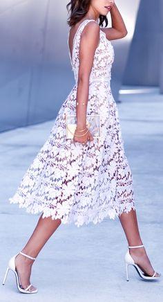 White lace + single strap heel.