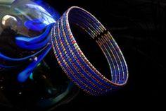 Bracelet fil mémoire avec Cobalt Mat Miyuki Delicas