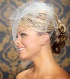 "Tulle Bridal Illusion Birdcage Veil Blusher Veil Bird Cage Wedding Veil in White Black Ivory Champagne  - 18"" - Made to Order. $33.95, via Etsy."