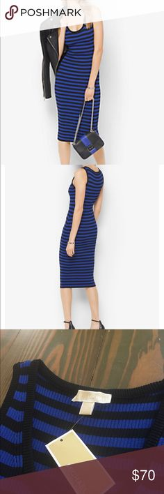 "Michael Kors Bold Striped body con dress. Micheal Kors ribbed tank dress.  Bold royal blue and black striped pattern.  ❤️65% Viscose, 35% Nylon 💛Machine wash, cold.  💚Approximate Measurements laid flat:                  45"" sold. to hem, 15"" armpit to armpit. Michael Kors Dresses"