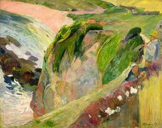 The Flageolet Player On The Cliff Painting by Paul Gauguin