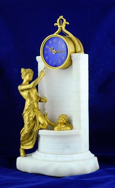FRENCH MANTLE CLOCK GUILLOCHE DIAL - Venus bathing Cupid c. 1880 France