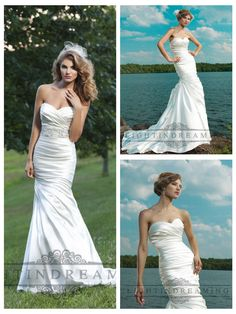 Strapless Ruched Sweetheart Wedding Dresses with Pleated Skirt