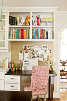 Stylish desk in a southern kitchen by designers Allison Smith and Erika Powell of Urban Grace Interiors.