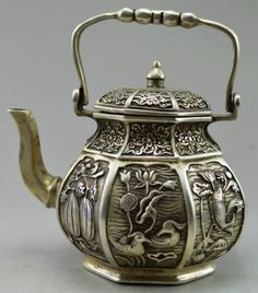 Collectible-Decorated-Old-Handwork-Tibet-Silver-Carved-Fish-Fruit-Flower-Tea-Pot