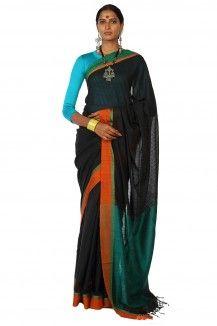 Makhmal Handwoven Black Soft Cotton Saree By Ron Dutta  Rs. 2,875