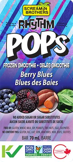 Screamin Brothers Rhythm Pops in Berry Blues is a frozen fruit and veggie smoothie with no added sugar! It's #GlutenFree, #DairyFree and delicious and nutritious! #CleanEating #KidFriendly #ScreaminBrothers