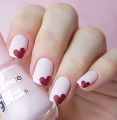 Feel good about yourself and spread some love with your favorite heart nail art among these adorable heart nail designs ideas. Here, check some of them! Heart Nail Designs, Pink Nail Designs, Simple Nail Art Designs, Nail Designs With Hearts, Heart Nail Art, Heart Nails, Cute Nail Art, Cute Nails, Red Nail Art