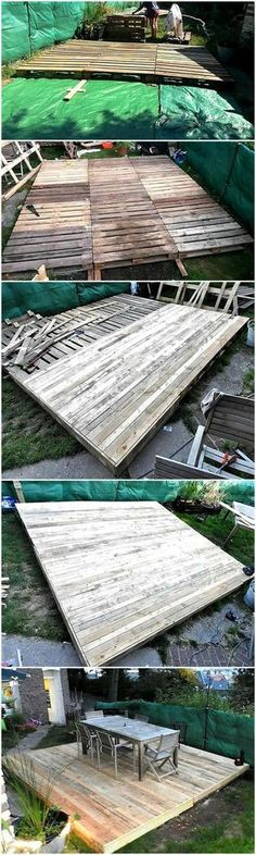 Now here is a reclaimed wood pallet garden terrace plan, which can be created to enjoy the fresh air by placing the chairs on it. It will provide a smooth area to set the furniture and have a seating place to enjoy the party with old buddies.