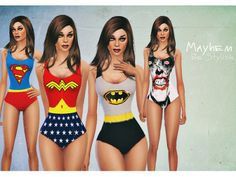 "mayhemfashionsims4: ""  DC Swimsuits Description: • Created for: The Sims 4 • Creation includes 4 themes : • 1. Superman • 2. Joker • 3. Wonder Woman • 4. Batman Download """