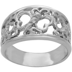 Sterling Essentials Sterling Silver Butterfly and Heart Ring ($18) ❤ liked on Polyvore featuring jewelry, rings, silver, long rings, sterling silver jewelry, wing ring, wide rings and heart shaped rings