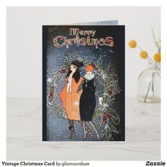 Shop Vintage Christmas Card created by glamourdaze. Vintage Christmas Cards, Holiday Cards, Swarovski, Christmas Shopping, Smudging, Vintage Shops, Paper Texture, Merry, Prints