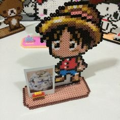 Chibi Luffy photo frame perler beads by secret_beads