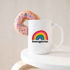 Retro Rainbow Mug -  Italy Lovers Mug - Buongiorno Mug - Unique Coffee Mug - Italian Saying Italy Coffee, Italian Quotes, Unique Coffee Mugs, Pick Me Up, Travel Gifts, White Ceramics, Custom Design, Lovers, Rainbow