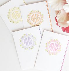 handmade monogram cards: Seasons of Stationery from the Damask Love Blog ... delightful wreathes  and monogram alphabets from Clear and Simple stamps ...