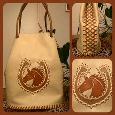 Horseshoe bag, handmade bucketbag made from faux leather with hand sewn applique. Western Wear, Hand Sewn, Bucket Bag, Applique, Reusable Tote Bags, Vegan, Sewing, Creative, Instagram Posts