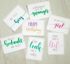 Calligraphy Cards, Modern Calligraphy, Diy And Crafts, Paper Crafts, Letter Art, Brush Lettering, Chalk Art, Brush Pen, Baby Cards