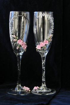 Black & White Wedding Glasses Wedding Champagne