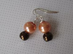 Bridal Pearl Earrings Pale Orange & Chocolate by ScarlettRose. $10.00, via Etsy.